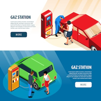 Gas station horizontal banners  with refuelling stands and workers filling up fuel into car