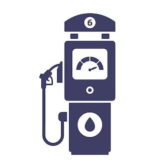 白い背景の上のガソリンスタンドのアイコン。車のガソリンを買う。フラットの図。
