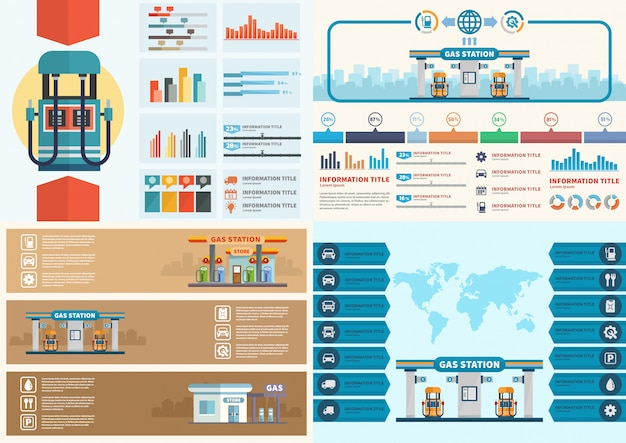 Gas station infographic. filling station vector