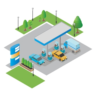 Gas station isometric vector illustration.