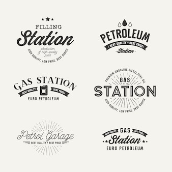 Gas station label set on the gray background