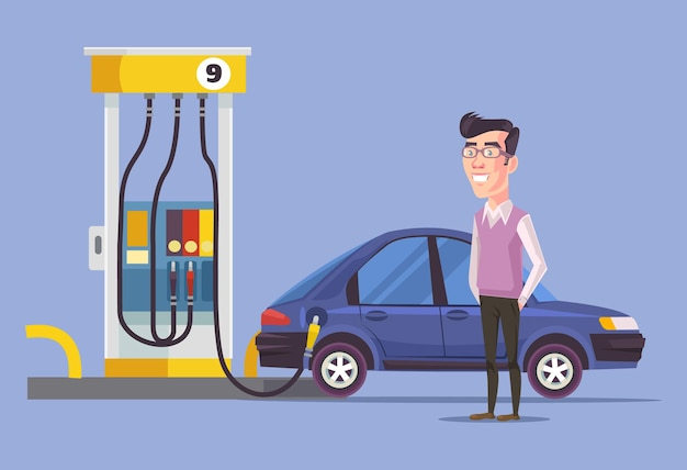 Gas station and man. vector flat illustration