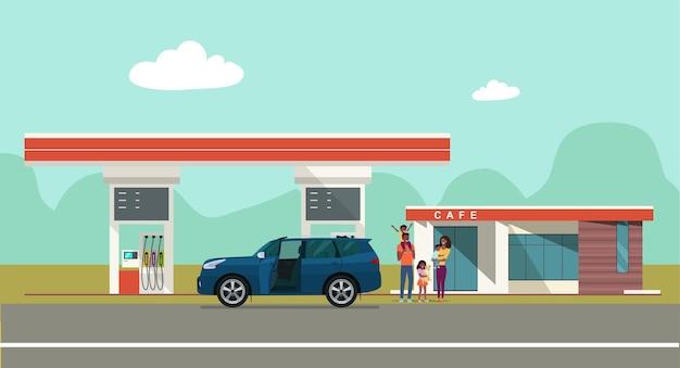 田園風景を背景にしたガソリンスタンド。ベクトルイラスト。