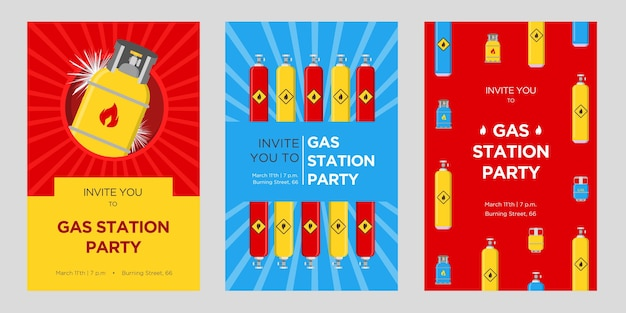 Gas station party invitation cards set. cylinders and balloons with flammable sign vector illustrations with date, time and address. templates for announcement posters or flyers