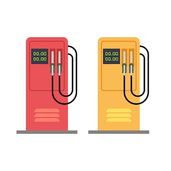 Gas station pump with gasoline petrol flat vector illustration. petrol station service isolated on w