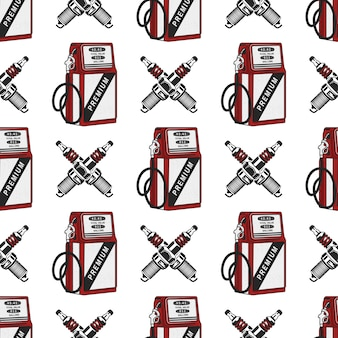 Gas station pump with sparkingplug seamless . vintage hand drawn oil station pattern.