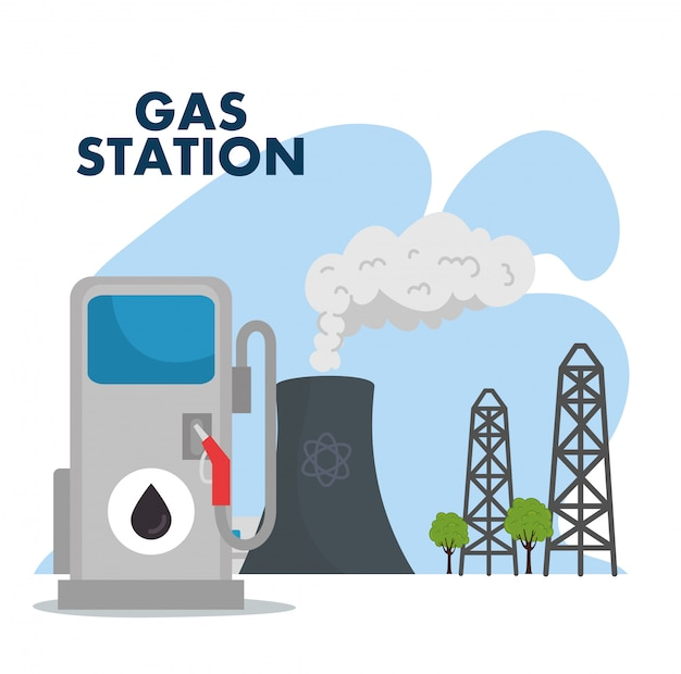 Gas station and refinery chimney scene vector illustration design