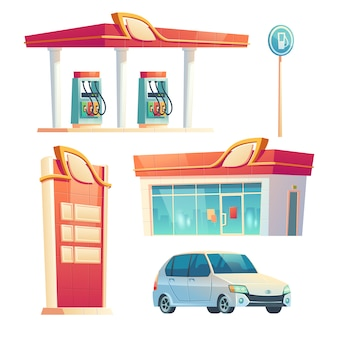 Gas station refueling service items car, building with glass facade