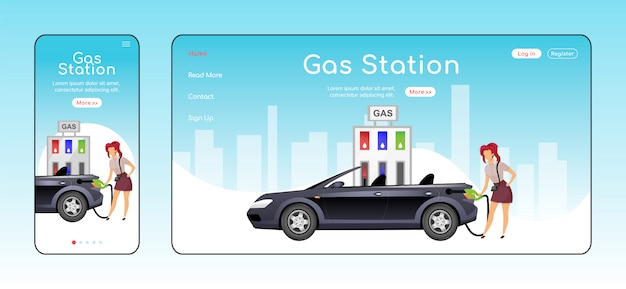 Gas station responsive landing page flat color  template.