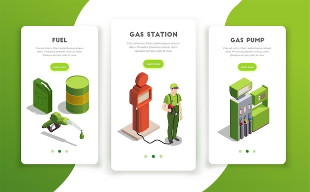 Gas station set of vertical banners with page switch buttons editable text and colourful images
