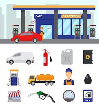 Автозаправочная станция вектор бензин топливо или бензин и дизель для заправки автомобилей