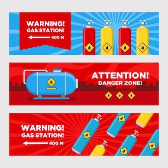 주유소 경고 배너 세트. 탱크와 실린더, 위험 영역이있는 대상 화살표 벡터 일러스트. 주유소 표지판 및 표지판 용 템플릿