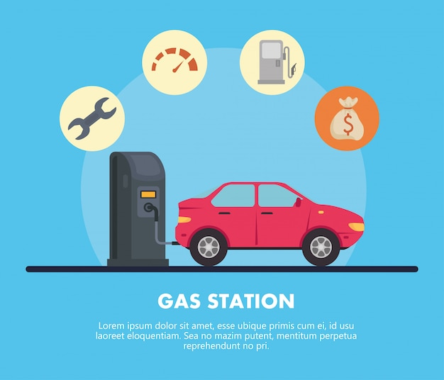 Gas station with red car and icon set vector design