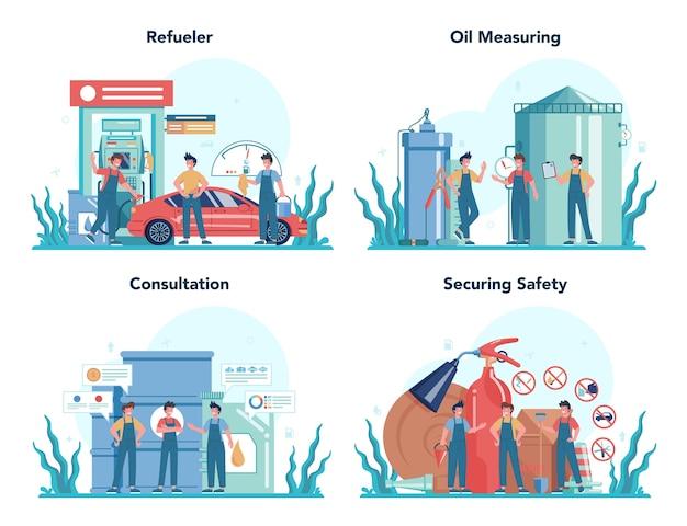 ガソリンスタンドの労働者または給油者の概念セット