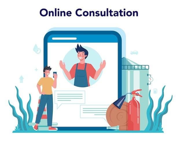 Онлайн-сервис или платформа работника азс или заправщика. рабочий в форме работает с заправочным пистолетом. онлайн-консультация.