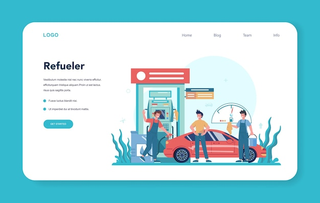 Gas station worker or refueler web banner or landing page. worker in uniform working with a filling gun. man pouring fuel into car in petroleum station.