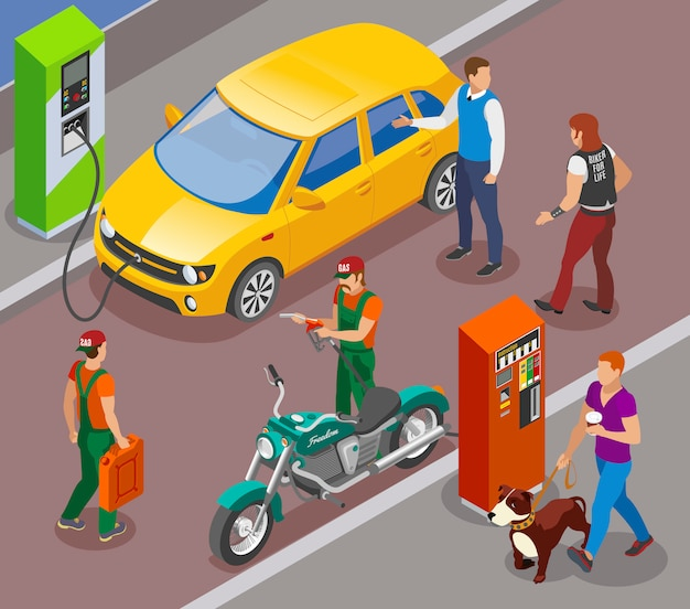 Gas stations refills isometric composition with gasoline filling columns for cars and motorbikes with people characters