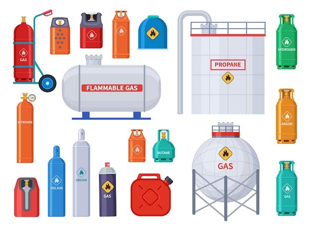 ガス貯蔵。酸素、オイルシリンダータンクおよび容器。家庭用および産業用石油産業機器。ボトルとキャニスターのアイコン。燃料酸素貯蔵、ガスタンクおよびキャニスターの図