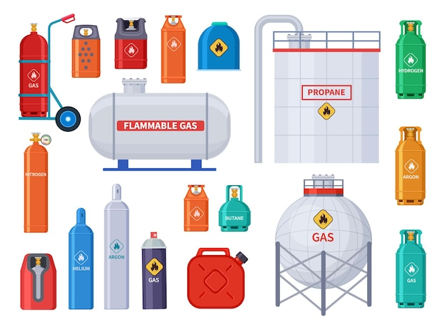 Gas storage. oxygen, oil cylinders tank and containers. home and industrial petroleum industry equipment. bottles and canister  icons. fuel oxygen storage, gas tank and canister illustration Premium Vector
