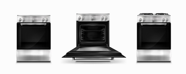 Fornello a gas e pannello di cottura a induzione con forno elettrico con porta aperta e chiusa isolata su bianco