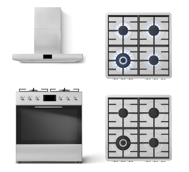 Gas stove with oven and metal cooker hood
