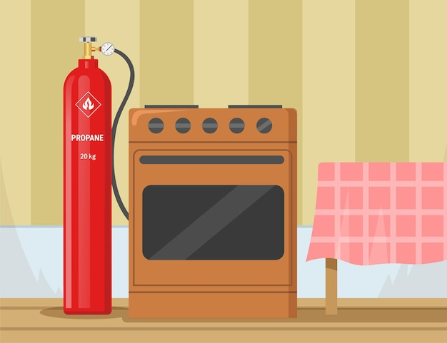 Gas stove with propane container in kitchen illustration