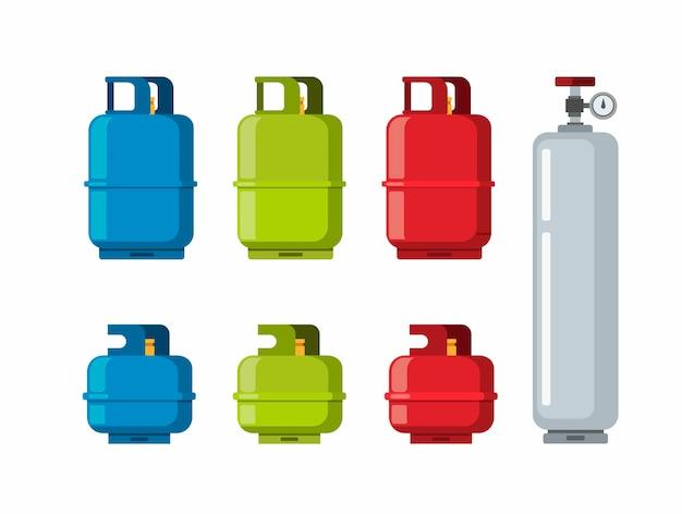 가스 탱크 실린더, 액화 석유 가스 컬렉션 아이콘을 설정합니다. 흰색 배경에서 만화 평면 그림