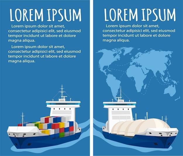 Танкер-газовоз и контейнеровоз на морском пейзаже. транспортировка сжиженного углеводородного газа lpg. газовозы под давлением, обеспечивающие морские перевозки, международная цепочка поставок газа.