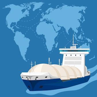 Танкер-газовоз на морском пейзаже. транспортировка сжиженного углеводородного газа суг и нефтехимии. газовозы под давлением, обеспечивающие морские перевозки, международная цепочка поставок газа.