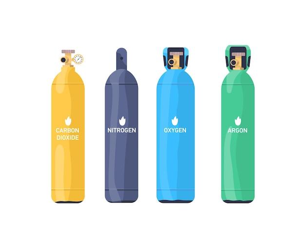 가스 탱크 평면 벡터 일러스트 세트입니다. 질소, 산소, 아르곤 산업용 실린더 다채로운 컬렉션. 흰색 팩에 격리된 밸브와 압력 게이지가 있는 압축 가스 저장 풍선.