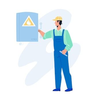 ガス技術者の労働者は暖房ボイラーベクトルをチェックします。ガス技術者サービス従業員男性チェック機器。制服のプロの職業フラット漫画イラストのキャラクターの少年