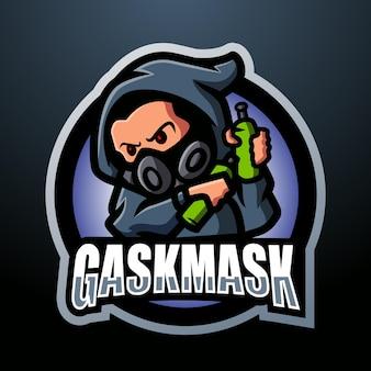 Дизайн логотипа киберспорта талисмана противогаза