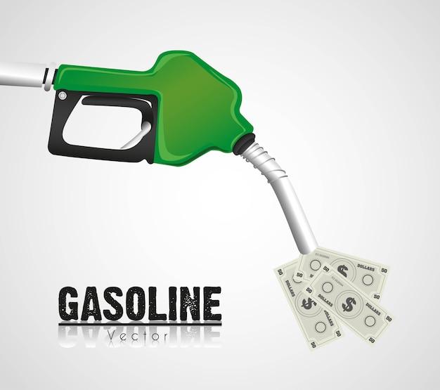 お金を投げるガソリンディスペンサー