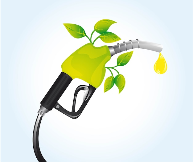 Gasoline fuel with leaves over blue background vector