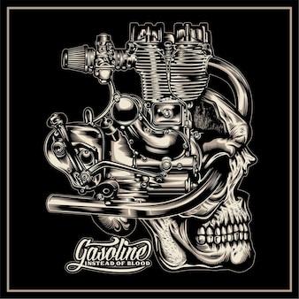 Gasoline instead of blood skull illustration