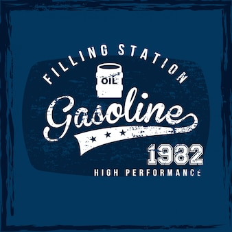 Gasoline label over blue background vector illustration