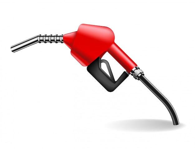 Gasoline pump nozzle  on white. car fueling equipment  illustration in realistic style. power and energy
