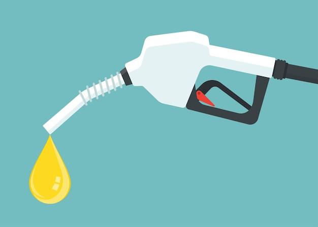 오일이 떨어지는 가솔린 펌프 노즐.