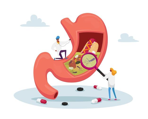 聴診器と拡大鏡を備えた巨大な胃の消化器内科医