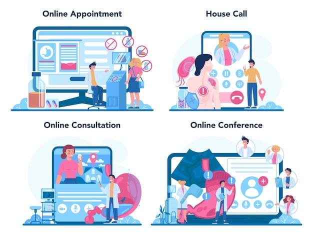 위장병 의사 온라인 서비스 또는 플랫폼 세트. 위 치료에 대한 아이디어.