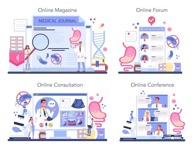위장병 의사 온라인 서비스 또는 플랫폼 세트 프리미엄 벡터