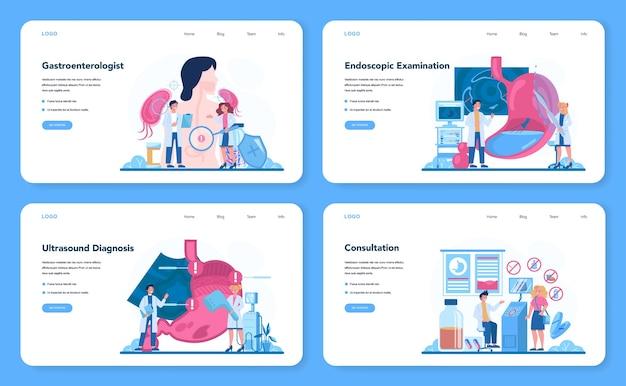 Gastroenterology doctor web banner or landing page set.