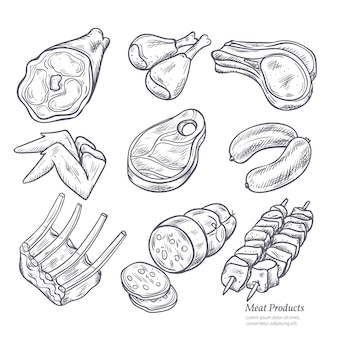 Gastronomic meat products sketches set
