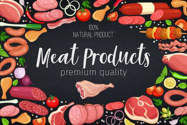 Gastronomic meat products with vegetables and spices poster template for food meat production, brochures, banner, menu and market design.  illustration.