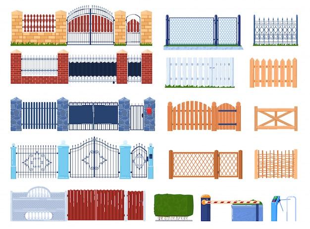 ゲートとフェンスのイラストセット、フェンスで囲まれた庭の家と農場、門柱の漫画の木または石レンガ構造のコレクション