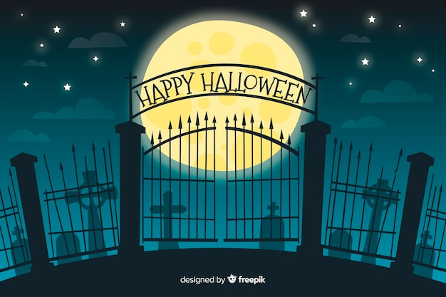 Gate of a cemetery halloween background
