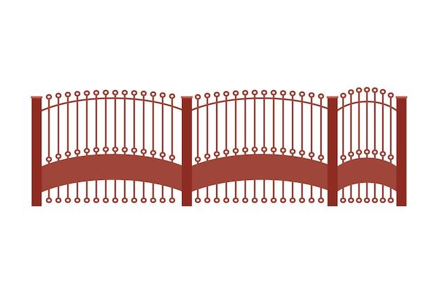 Ворота забор из металла. иллюстрация декоративного барьера. наружный защитный элемент архитектуры.