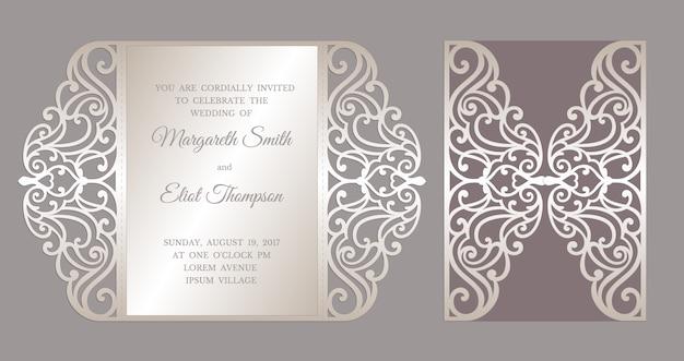 Gate fold laser cut wedding invitation card template. template for cutting. design for laser cut or die cut template. ornamental wedding invite mockup.