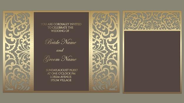 Ворота фолд лазерной резки свадебные приглашения карты шаблон. шаблон для нарезки. дизайн для лазерной резки или высечки шаблона. декоративная свадьба приглашает макет.