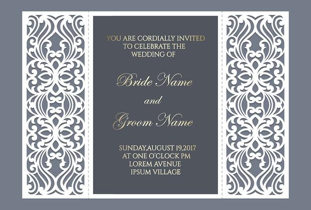 Gate fold laser cut wedding invitation design. cut out template for laser cutting machines.